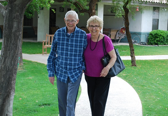Huger Mercy residents on a stroll