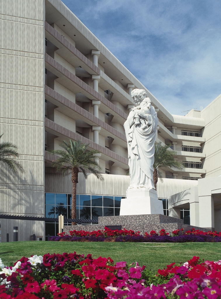 St. Joseph's statute in front of hospital